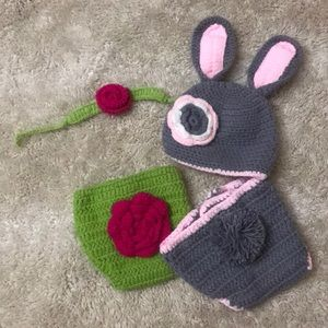 Crochet Infant Bunny and Flower Photo Outfit
